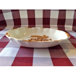 """Vassoietto ovale cm. 18 in ceramica """"Crescentini"""" decoro ruggine"""